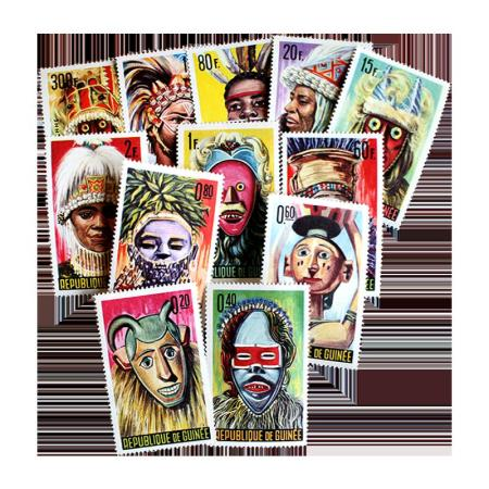 Guinea Masks 361-71 and c68 Mint Postage Stamps
