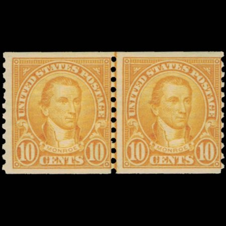 1924 U.S. James Monroe Stamp Joint Line Pair