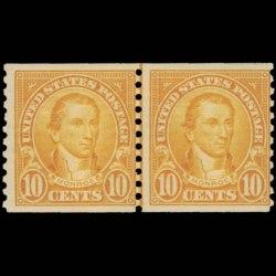 1924 U.S. James Monroe Stamp Joint Line Pair