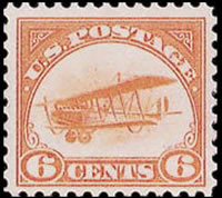 United States Airmail Stamps - 1918 Curtiss Jenny BiPlane - 6¢ orange