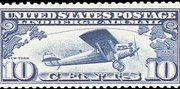 United States Airmail Stamps - 1927 Lindbergh Tribute Issue - 10¢ dark blue