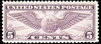 United States Airmail Stamps - 1930 Flat Plate Printing Perf 11 Winged Globe - 5¢ violet