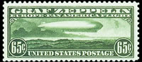 United States Airmail Stamps - 1930 Graf Zeppelin Issue - 65¢ green