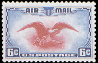 United States Airmail Stamps - 1938 Eagle - 6¢ blue & carmine