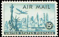 United States Airmail Stamps - 1947 - 15¢ New York Skyline