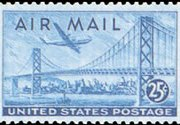 United States Airmail Stamps - 1947 - 25¢ Plane Over Bridge