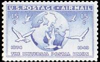 United States Airmail Stamps - 1949 U.P.U. Issue - 15¢ Globe & Dove - ultramarine