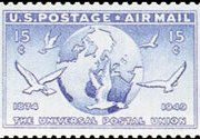 United States Airmail Stamps - 1949 U.P.U. Issue - 15¢ Globe & Dove - ultramarine