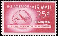 United States Airmail Stamps - 1949 U.P.U. Issue - 25¢ Plane & Globe - carmine