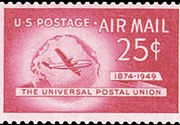 United States Airmail Stamps - 1949 U.P.U. Issue - 25¢ Plane & Globe - carmine