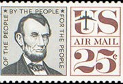 United States Airmail Stamps - 1959 - 1960 Regular Issues - 25¢ Lincoln (1960)