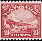 United States Airmail Stamps - 1923 - 24¢ Airplane - carmine