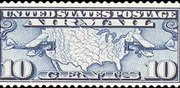 United States Airmail Stamps - 1926 -1927 Map of US and Airplanes - 10¢ dark blue