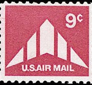 United States Airmail Stamps - 1971 - 1973 - 9¢ Delta Winged Plane