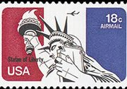 United States Airmail Stamps - 1974 - 18¢ Statue of Liberty