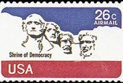 United States Airmail Stamps - 1974 - 26¢ Mt. Rushmore