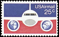 United States Airmail Stamps - 1976 - 25¢ Plane & Globes