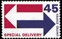 United States Special Delivery Stamps - 1954 - 1971 - 45¢ (1969) - blue & red