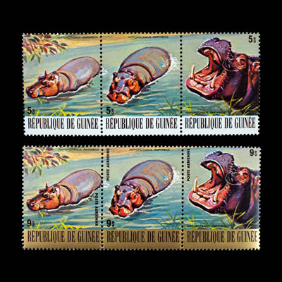 1977 Guinea Hippopotamus Regular and Air Post Stamp Strips