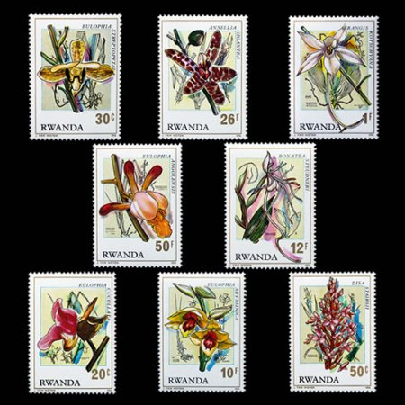 Set of 8 Orchids Stamps from Rwanda