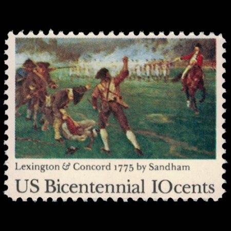U.S. #1563 - Lexington and Concord 10 Cent Stamp.