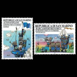 San Marino Fantasy Vehicle Stamp Set. Catalog #1604 and 1605.