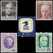 US Stamp Set 1396 - 1400 - Prominent Americans and the U.S.P.S. emblem