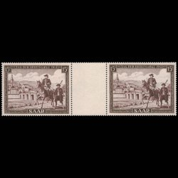 Saar Gutter Pair Post Horse and Rider Stamps
