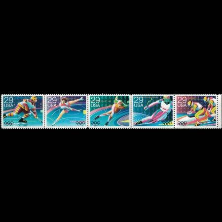 1992 U.S. Winter Olympic Stamp Strip of 5