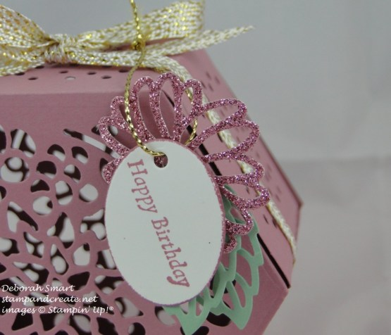 Window Box tealight holder - close up of tag