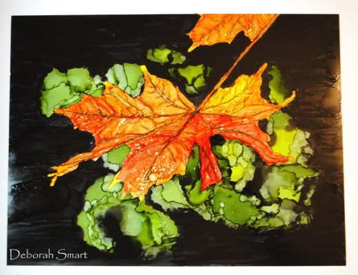 Alcohol Ink Art - Fall Maple Leaf