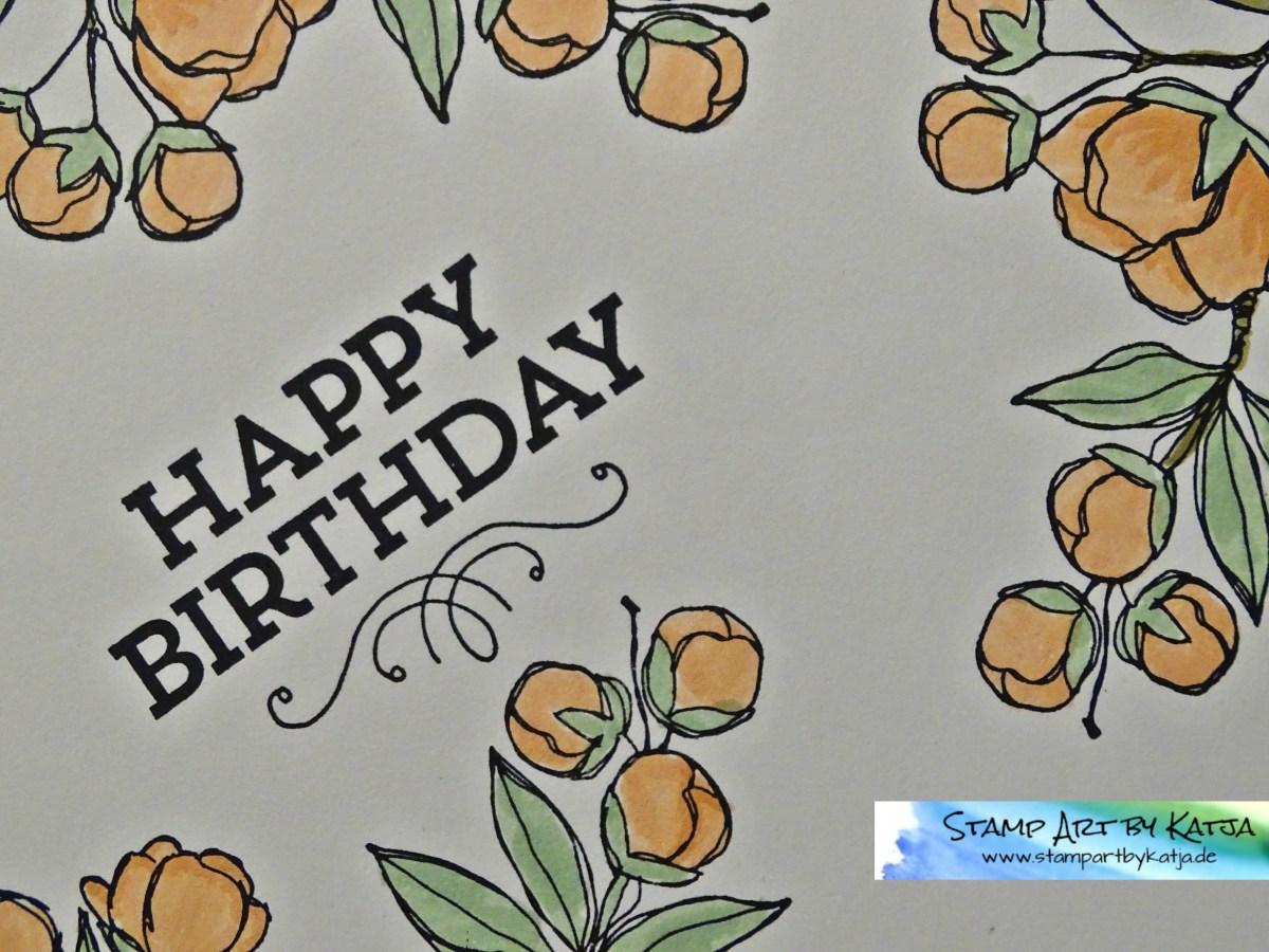 Feminine Geburtstagskarte in Pastelltönen