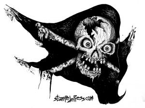 Tattered jolly Roger Woodcut