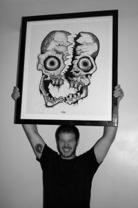 with Cleaved Skull Woodcut
