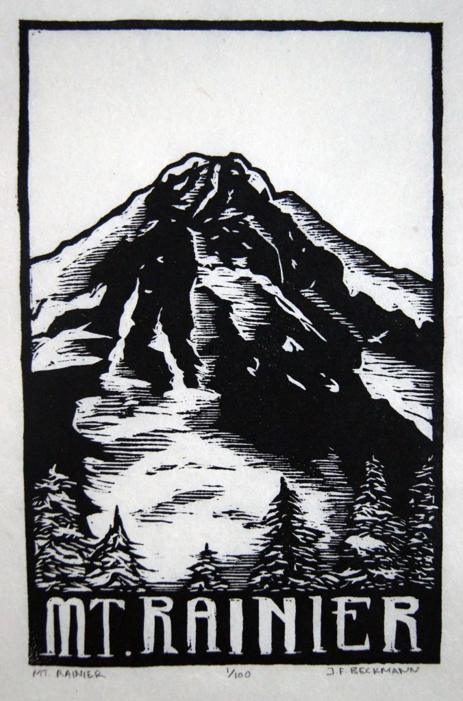 Mt. Rainier Woodcut by John Beckmann of stampede press
