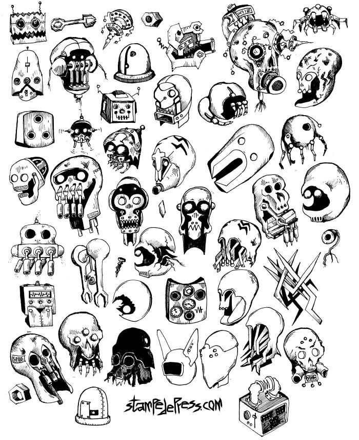 42 Robots Drawing by Dr. John Beckmann