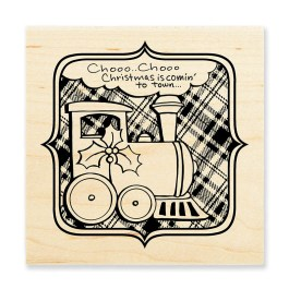 W159 Christmas Train Rubber Stamp