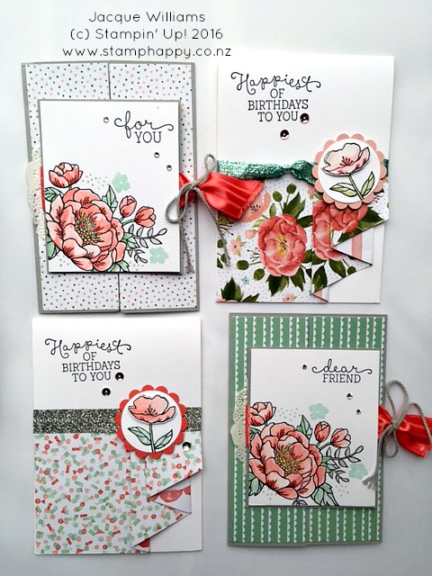 Stampin Up Jacque Williams Stamphappy New Zealand Birthday Blooms Diy Gift Idea Cards Watercolour