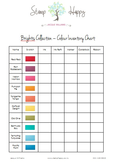 Stampin Up Colour Inventory Sheets