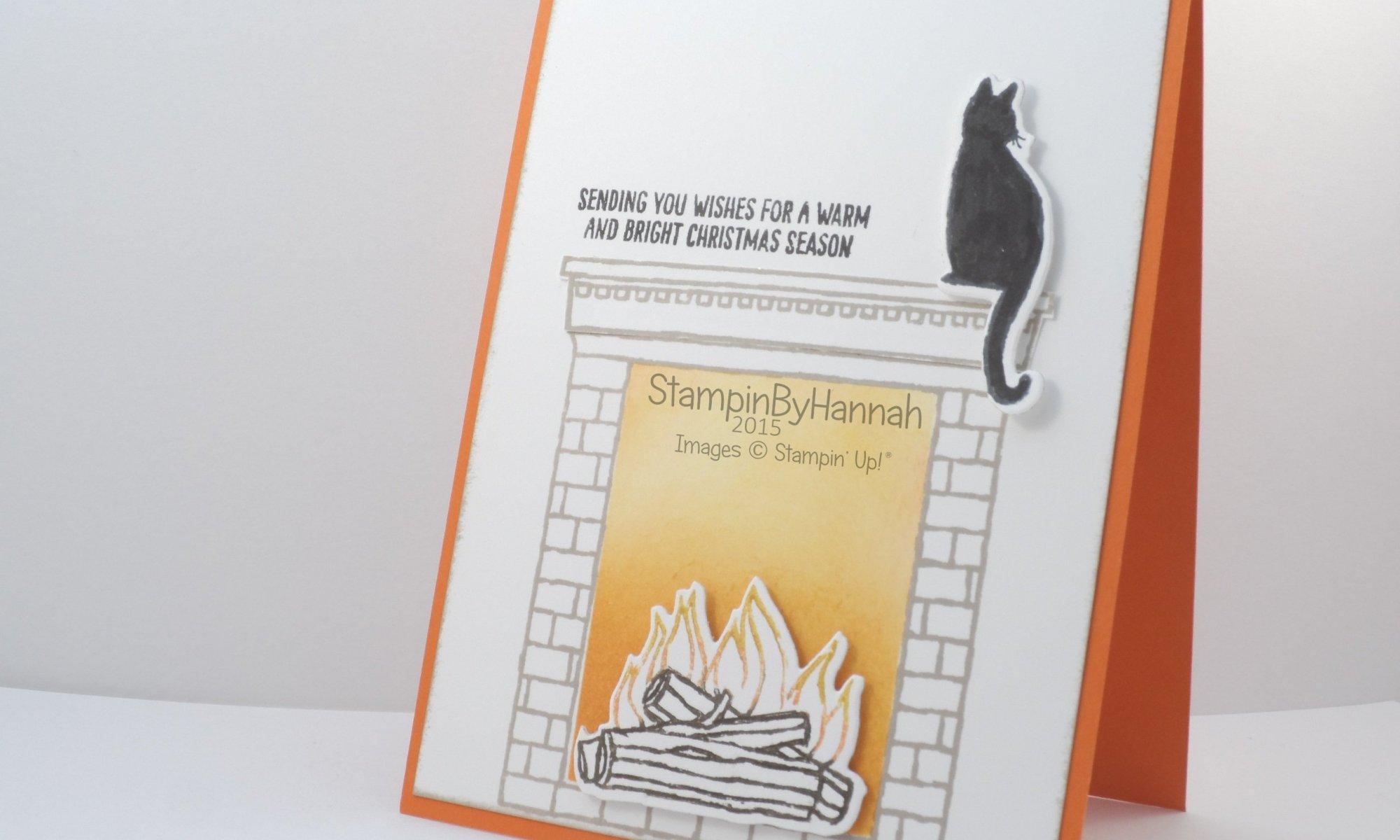 Stampin' Up! UK festive fireplace black cat christmas card