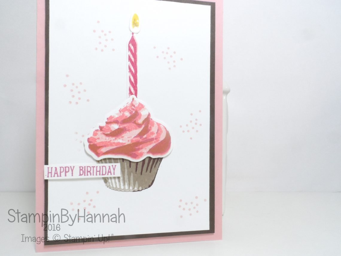 2-step stamping birthday card using Sweet Cupcake from Stampin' Up!