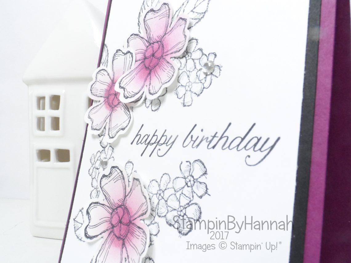 Floral Birthday Card using Birthday Blossoms from Stampin' Up!