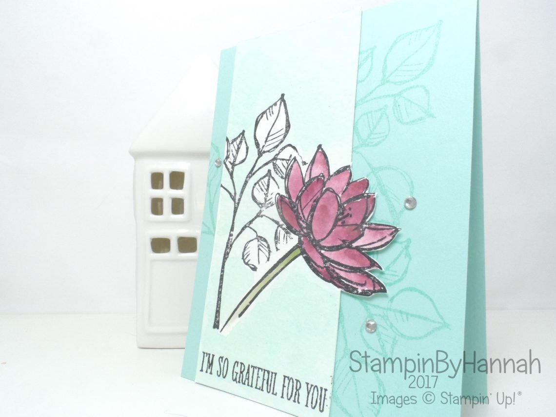Pootles Papercraft Design Team Watercolour floral Thank You card using Remarkable You from Stampin' Up!