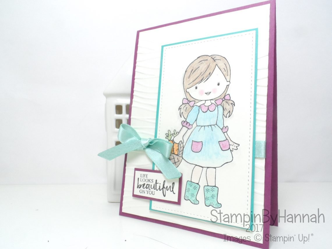 Stinkin Inkers Card Making Challenge Just Because Card using Garden Girl and Beautiful You from Stampin' Up!