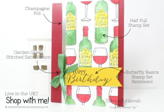 Watercoloured Wine Birthday Card using Half Full from Stampin' Up! by StampinByHannah