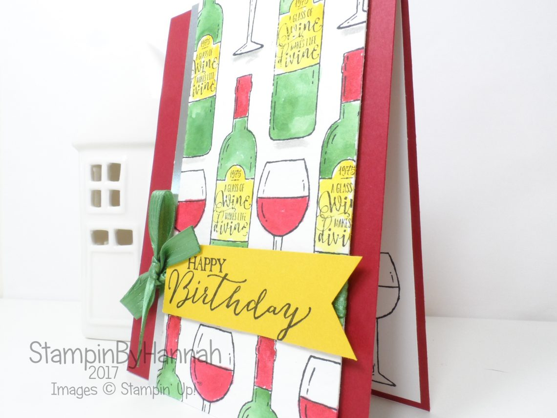 Red Wine Watercolour Birthday card using Half Full from Stampin' Up!