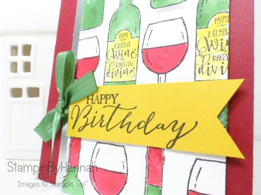 #birthday #wine #wineoclock Watercoloured birthday card using Half Full from Stampin' Up!