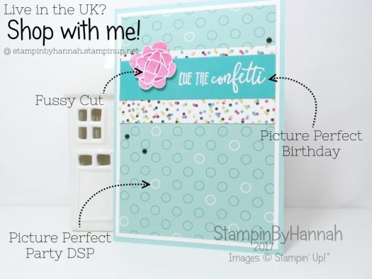 How to make a fun Birthday card using Picture Perfect Birthday from Stampin' Up! for StampinByHannah's Birthday Card Club 2018