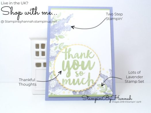 How to make a fun thank you card using Lots of Lavender from Stampin' Up!