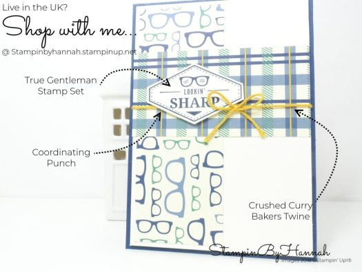 International Blog Highlights with Kylie Bertucci Mans Card using Truly Tailored from Stampin' Up!